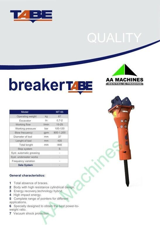 new Tabe MT 65 hydraulic breaker